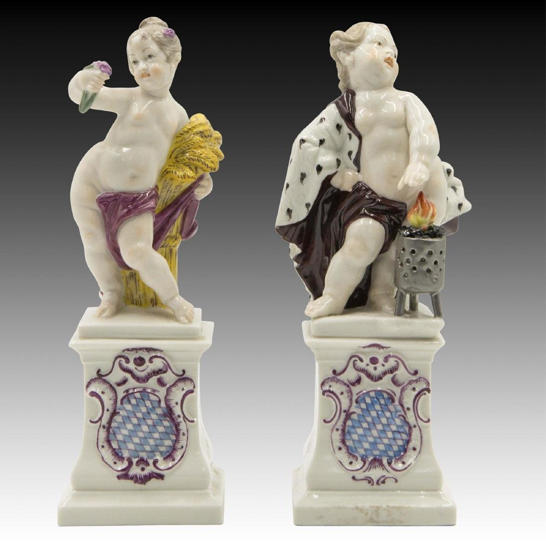 Pair of Nymphenburg German Porcelain  Cherub Figurines