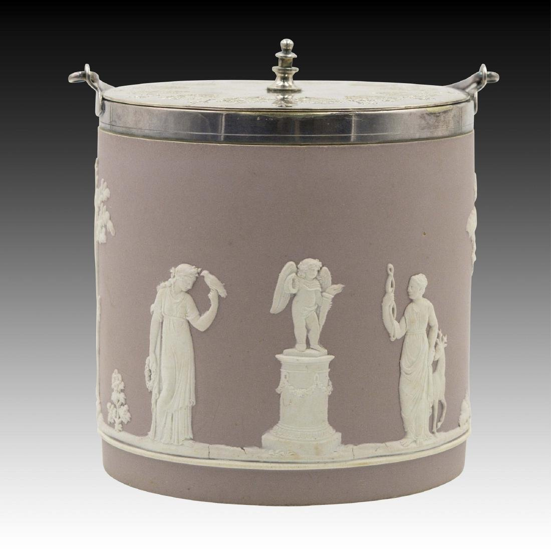 Mauve Jasperware Wedgwood Biscuit Jar / Ice Bucket