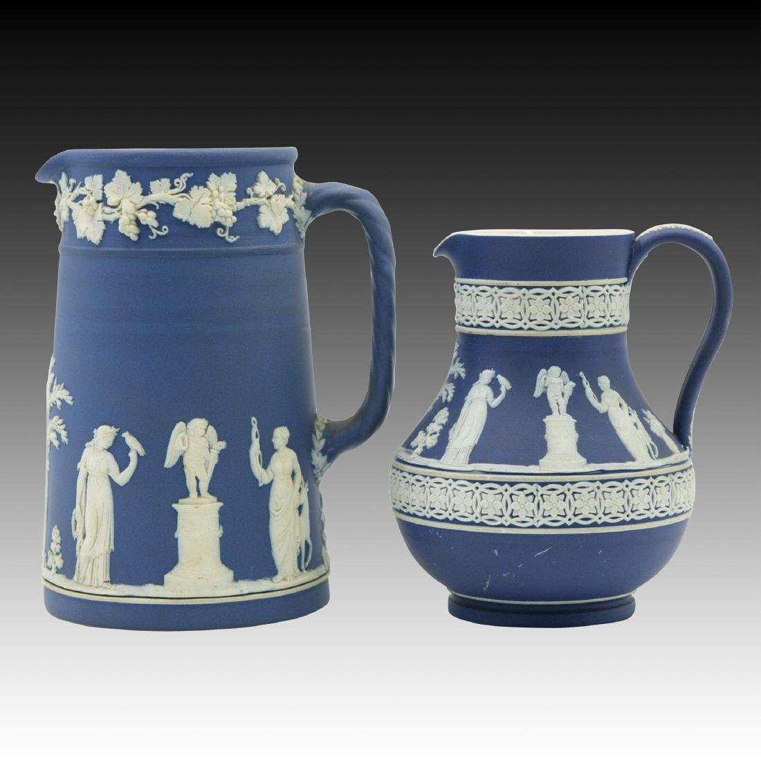 2 Royal Blue Antique Wedgwood Jasperware Pitchers