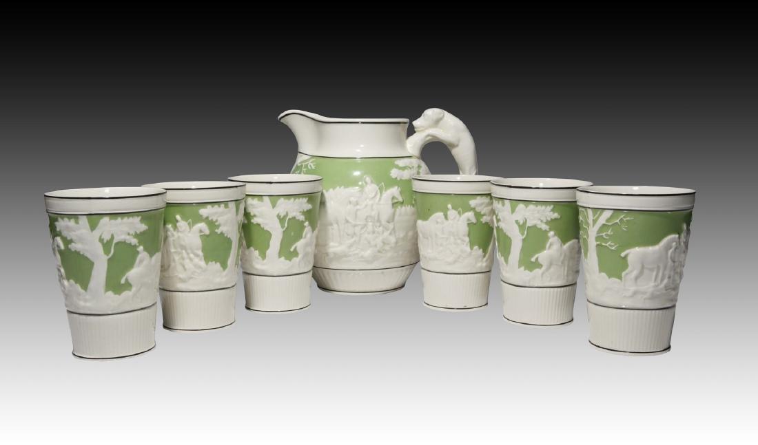 7 pc Creamware Wedgwood Jasperware Hunt Scene