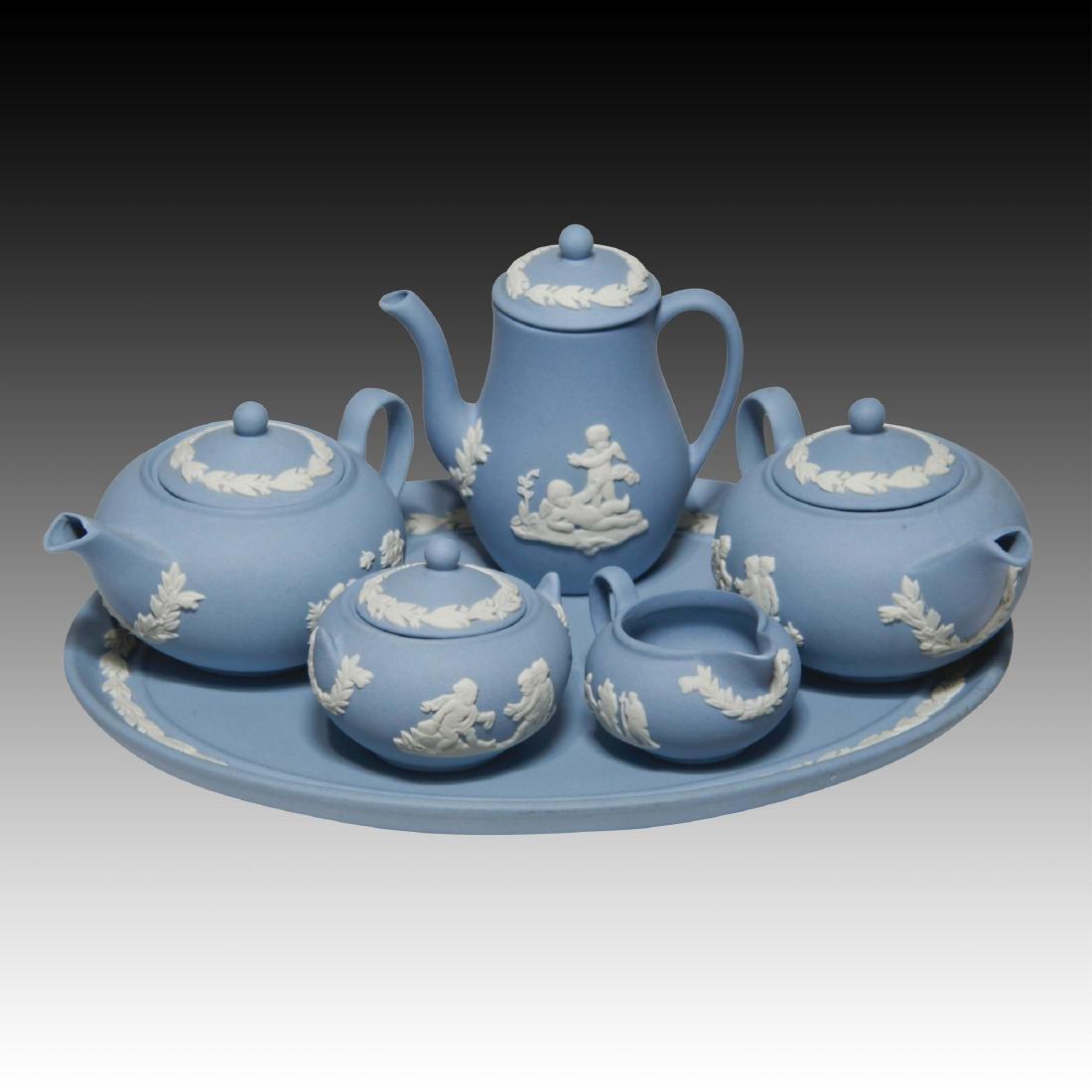Blue Wedgwood Jasperware Miniature Tea Set (6)