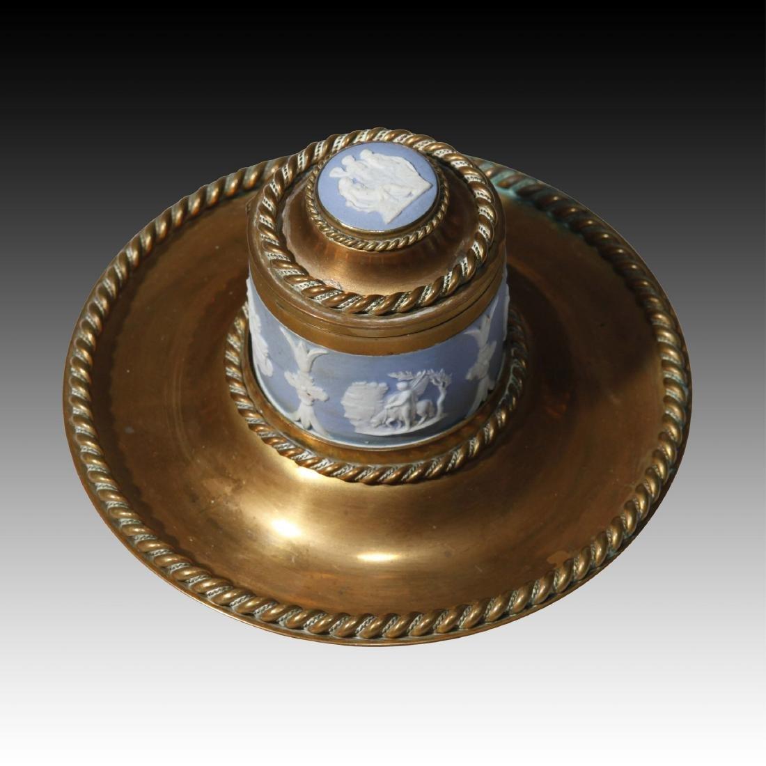 Antique Bronze and Wedgwood Jasperware inkwell