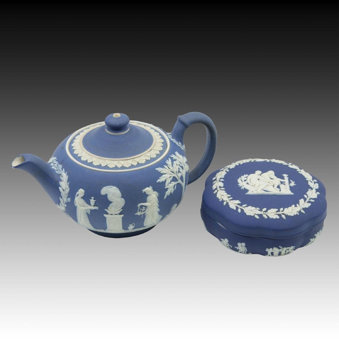2 Royal Blue Wedgwood Jasperware incl. Teapot