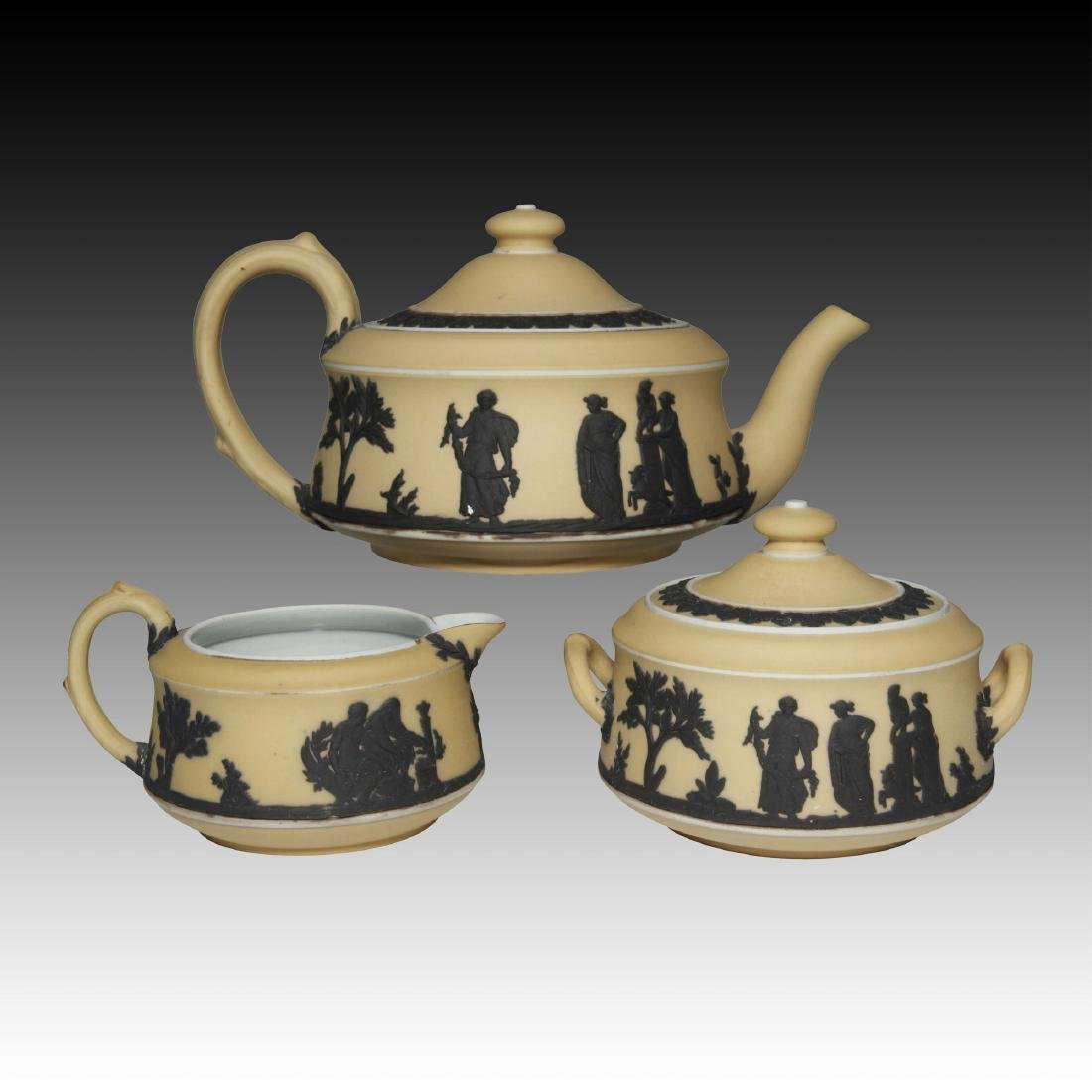 Rare Wedgwood Jasperware Black on Caramel Tea Set