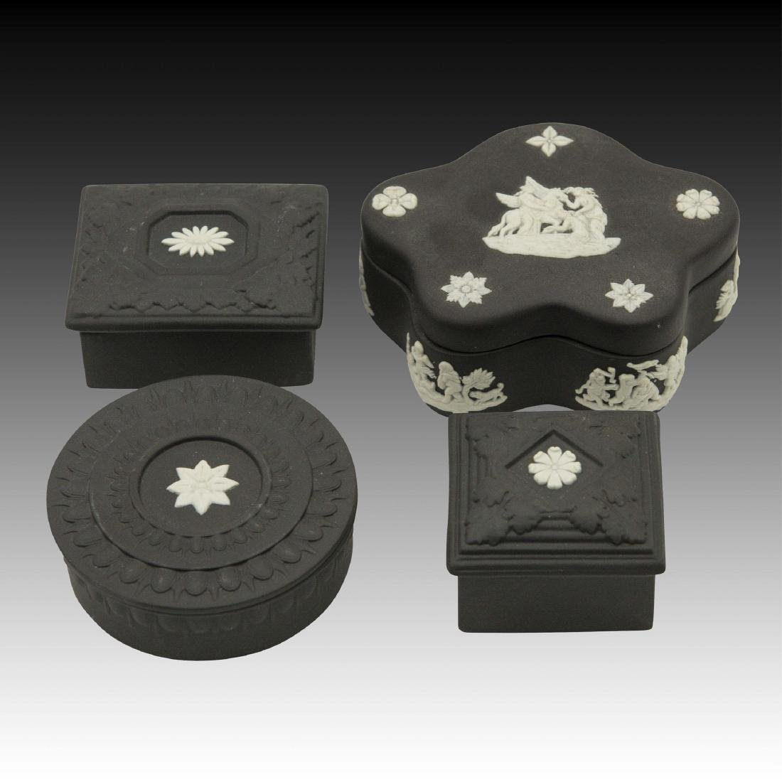 4 Wedgwood Jasperware Basalt boxes