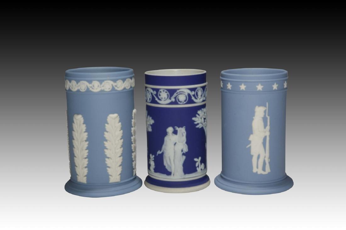 3 Cylindrical Wedgwood Jasperware Tall Vases
