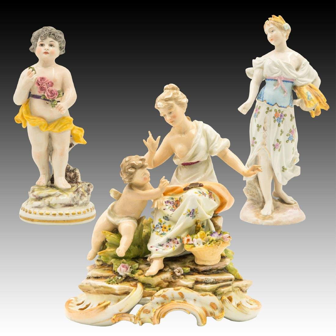 Group of 3 Continental Porcelain Figurines