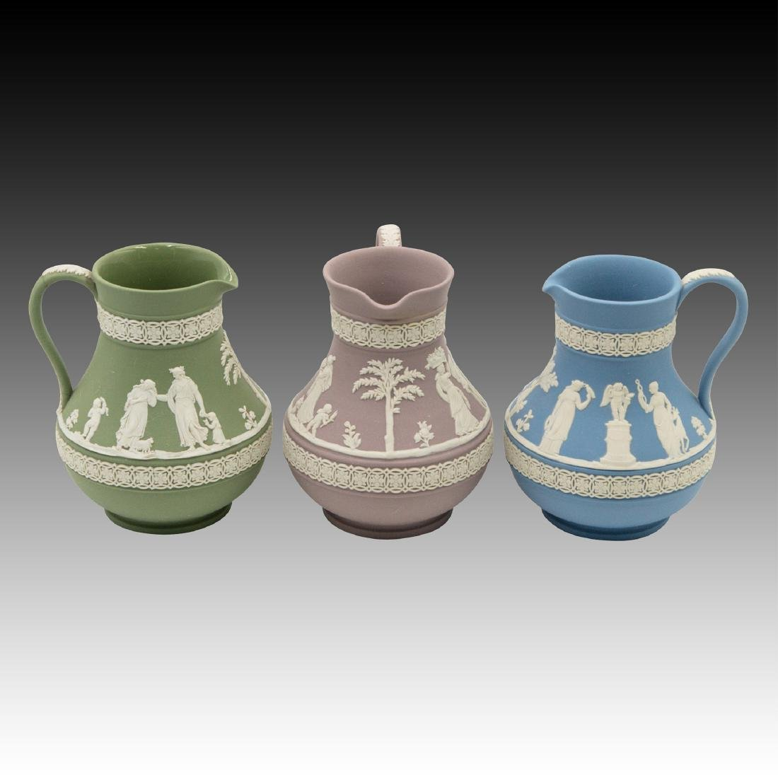 3 Vintage Wedgwood Jasperware Pitchers