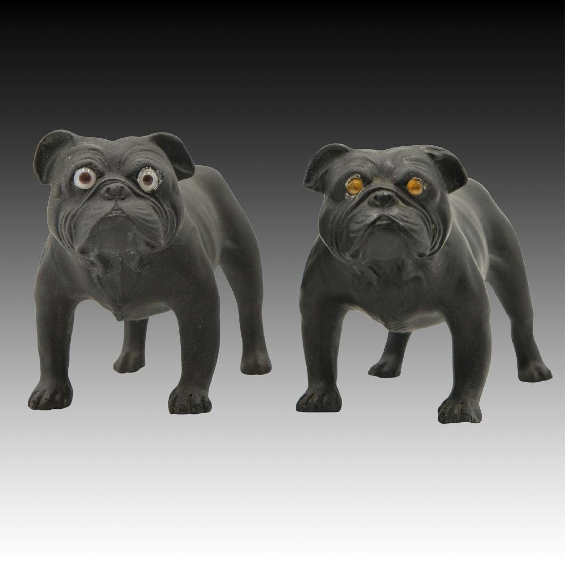 2 Wedgwood Basalt  Bulldogs by Ernest Light