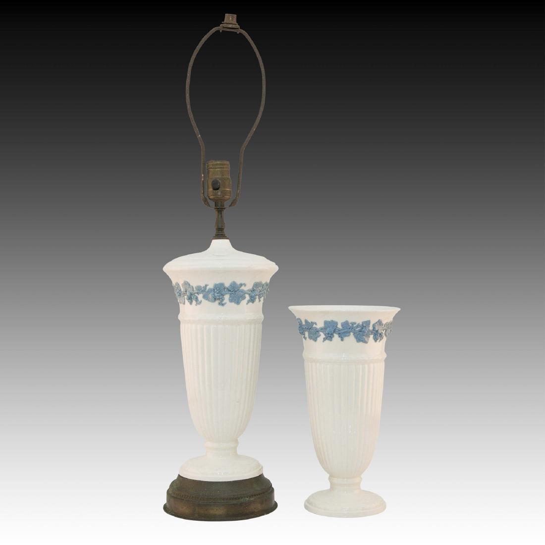 2 Wedgwood Embossed Queensware Vase & Lamp