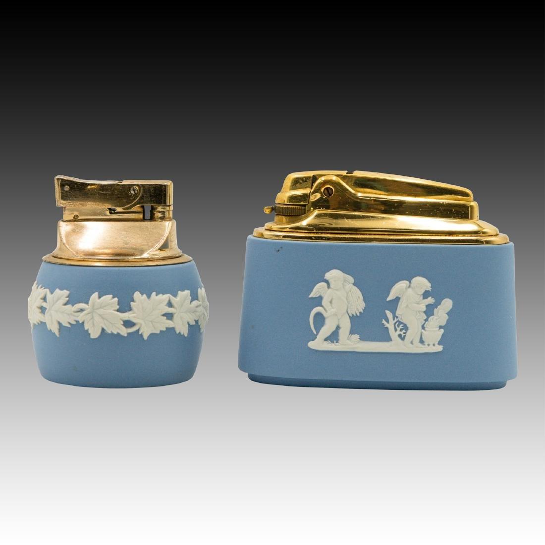 2 Wedgwood Jasperware wick table lighters