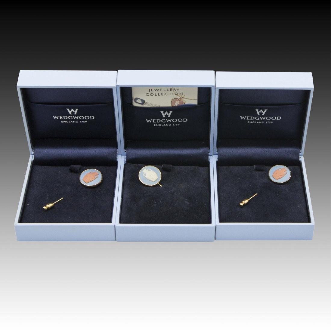 3 Wedgwood Jasperware Cameo Stick Pins