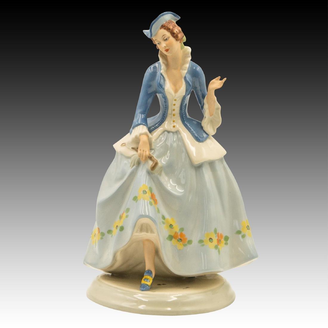 Royal Dux Lady with Tri - Corner Hat