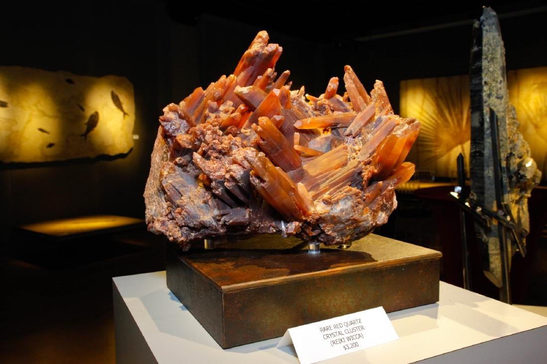 Red Quartz Terminated Crystal Cluster on Base