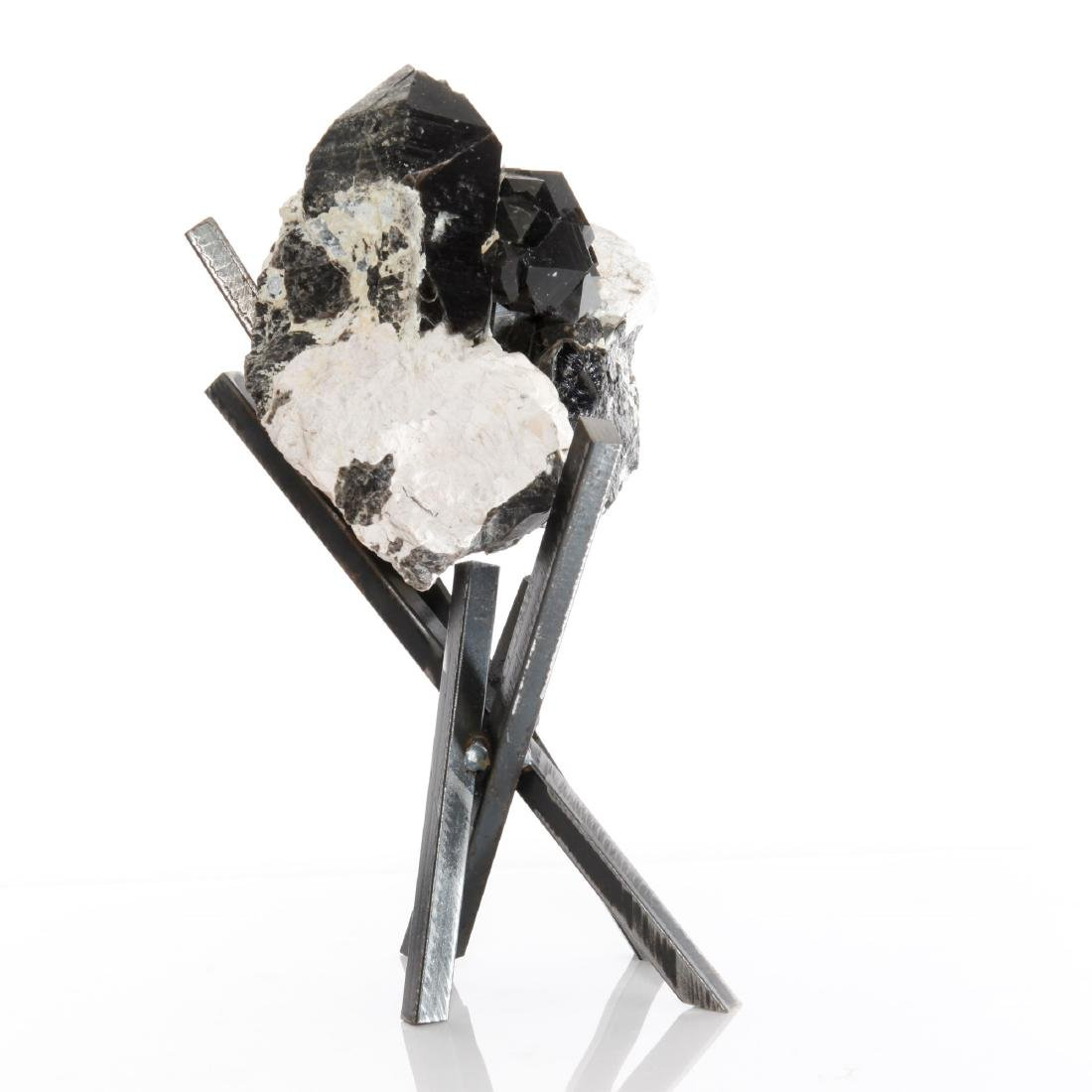 Tibetan Black Quartz Crystal Cluster on Metal Base