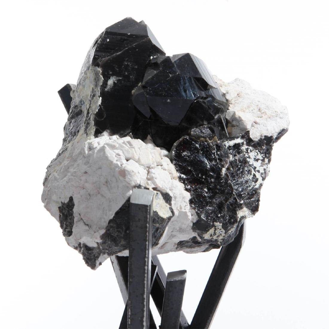 Tibetan Black Quartz Crystal Cluster on Metal Base - 5
