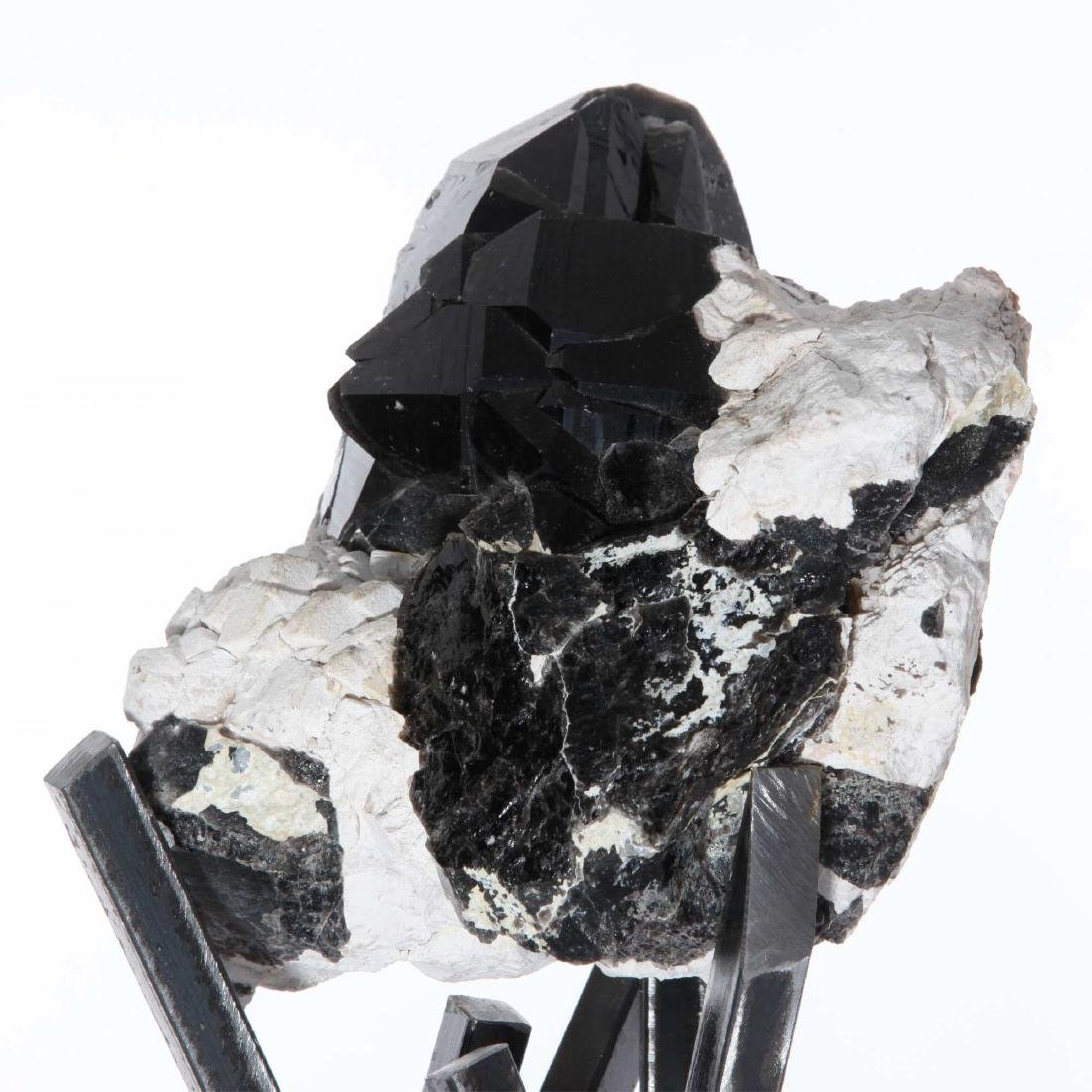 Tibetan Black Quartz Crystal Cluster on Metal Base - 6