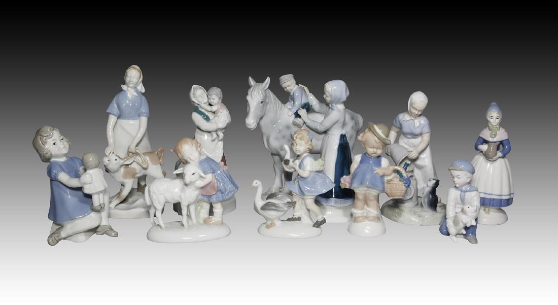 Group of 10 German GDR Porcelain Figurines of Kids