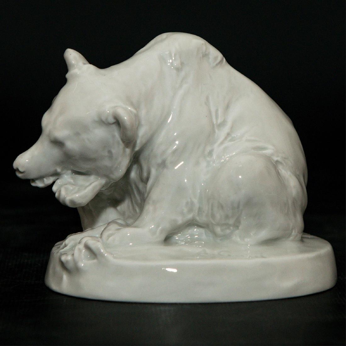 Meissen Blanc De Chine Porcelain Bear Figurine