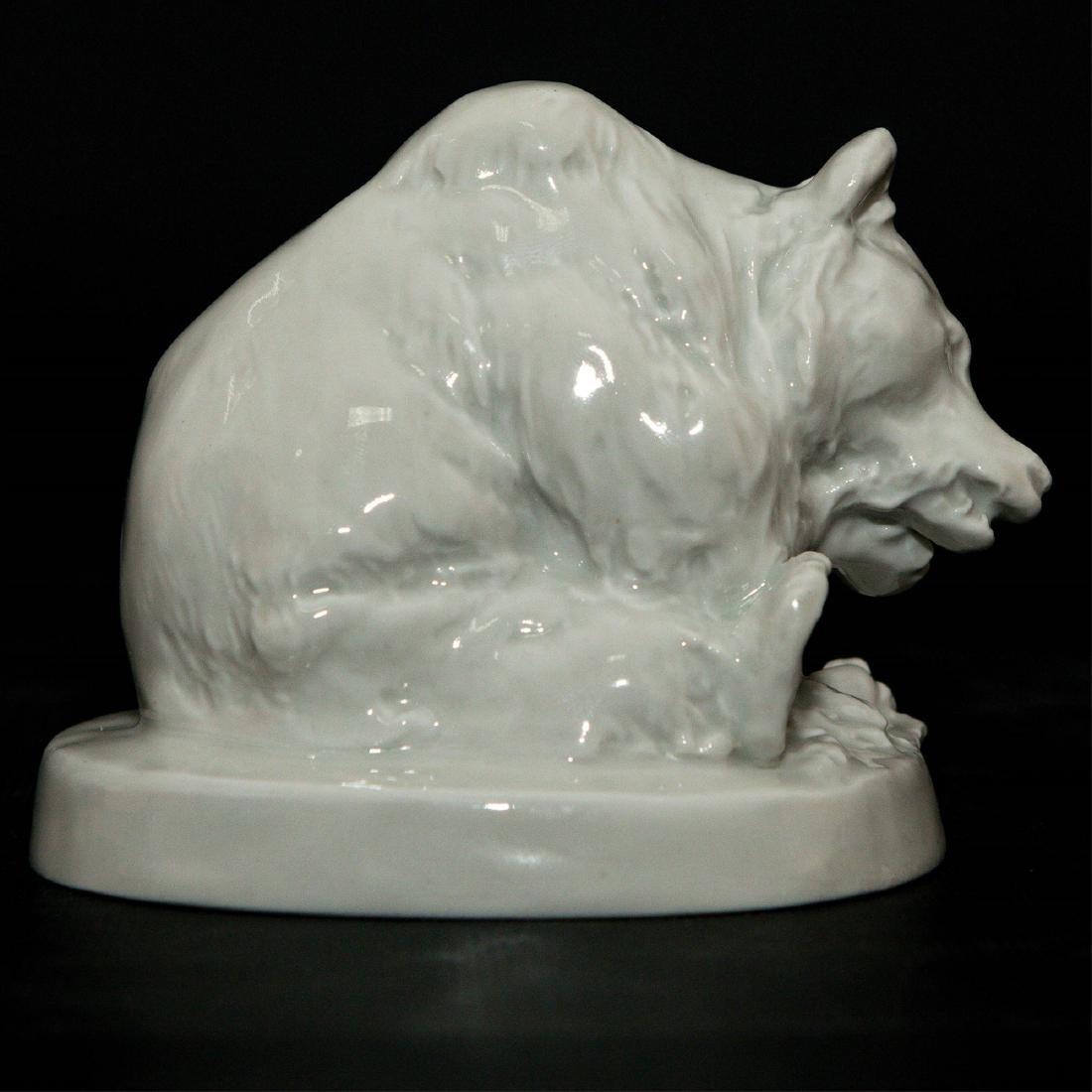 Meissen Blanc De Chine Porcelain Bear Figurine - 2