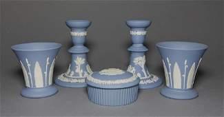 Wedgwood 5pc Blue Jasper Candlesticks Vases