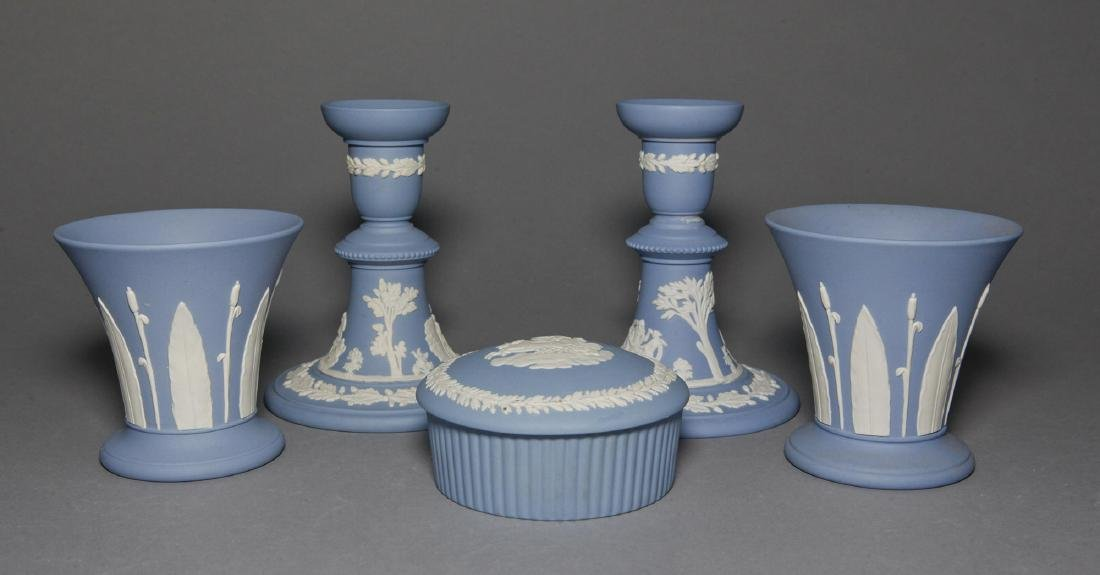 Wedgwood 5pc Blue Jasper Candlesticks Vases