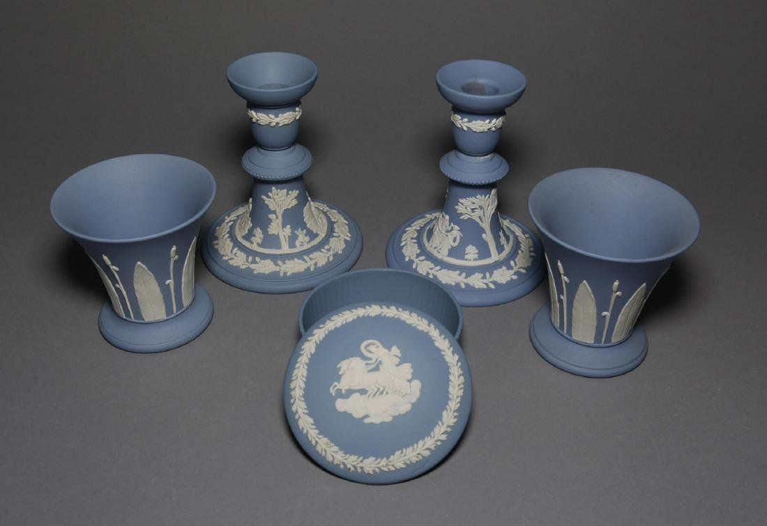 Wedgwood 5pc Blue Jasper Candlesticks Vases - 2
