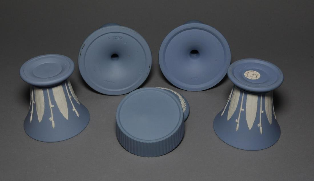 Wedgwood 5pc Blue Jasper Candlesticks Vases - 3