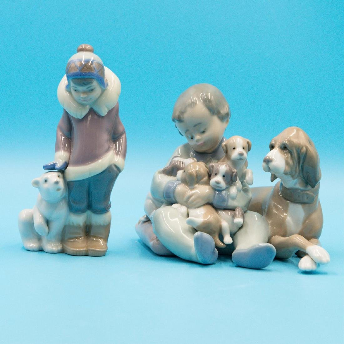 Lladro New Playmates And Eskimo Boy With Pet