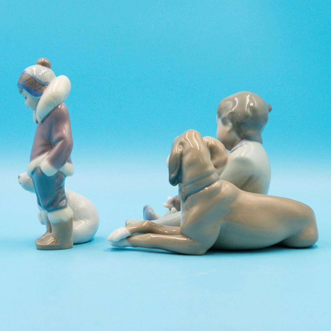 Lladro New Playmates And Eskimo Boy With Pet - 2