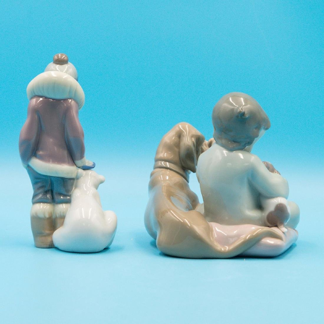 Lladro New Playmates And Eskimo Boy With Pet - 3