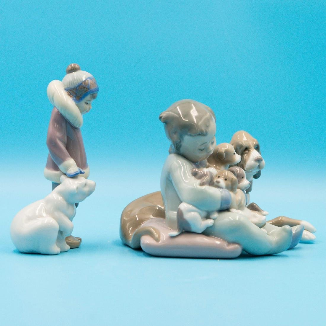 Lladro New Playmates And Eskimo Boy With Pet - 4