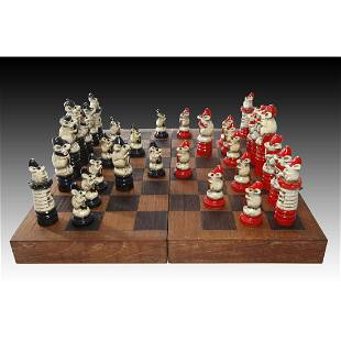 Doulton Lambeth George Tinworth Complete Chess Set