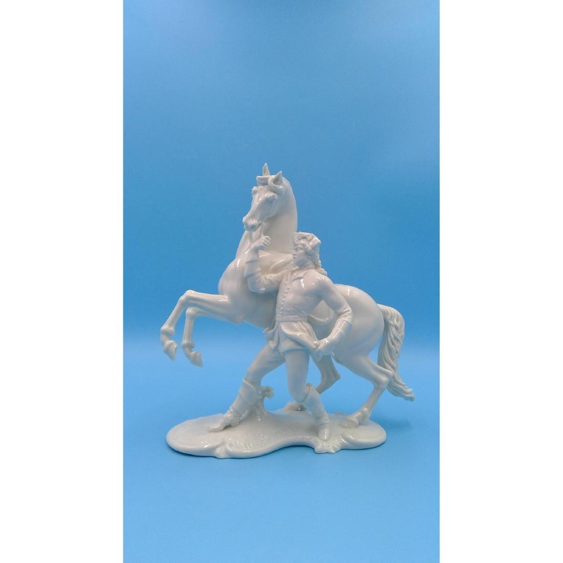 NYMPHENBURG GERMAN PORCELAIN FIGURINE HORSE RIDER