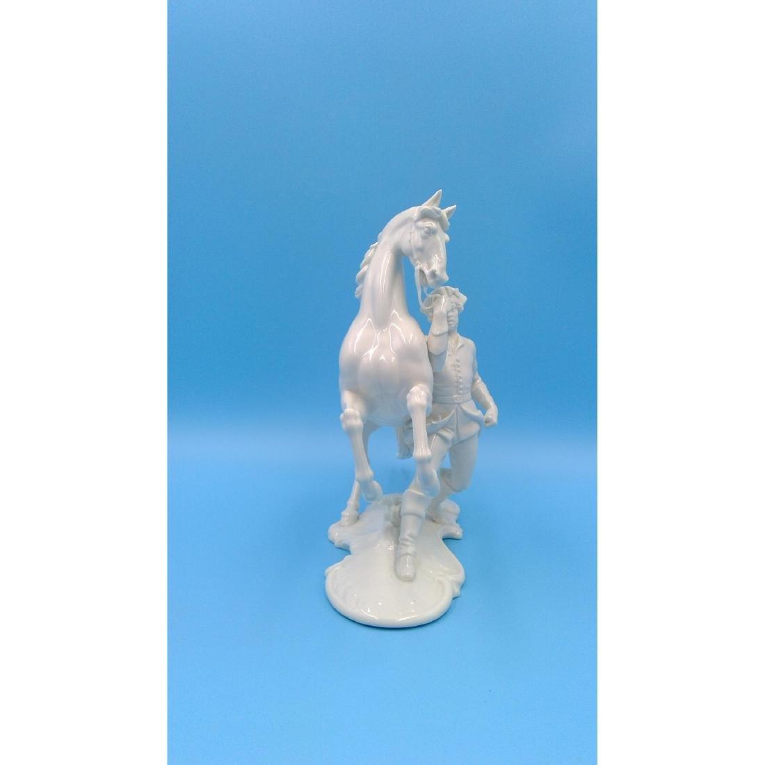 NYMPHENBURG GERMAN PORCELAIN FIGURINE HORSE RIDER - 4