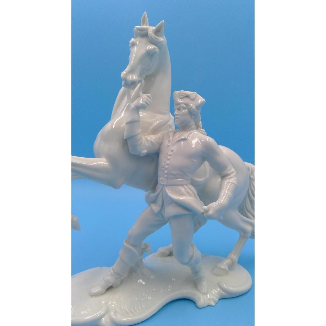 NYMPHENBURG GERMAN PORCELAIN FIGURINE HORSE RIDER - 5