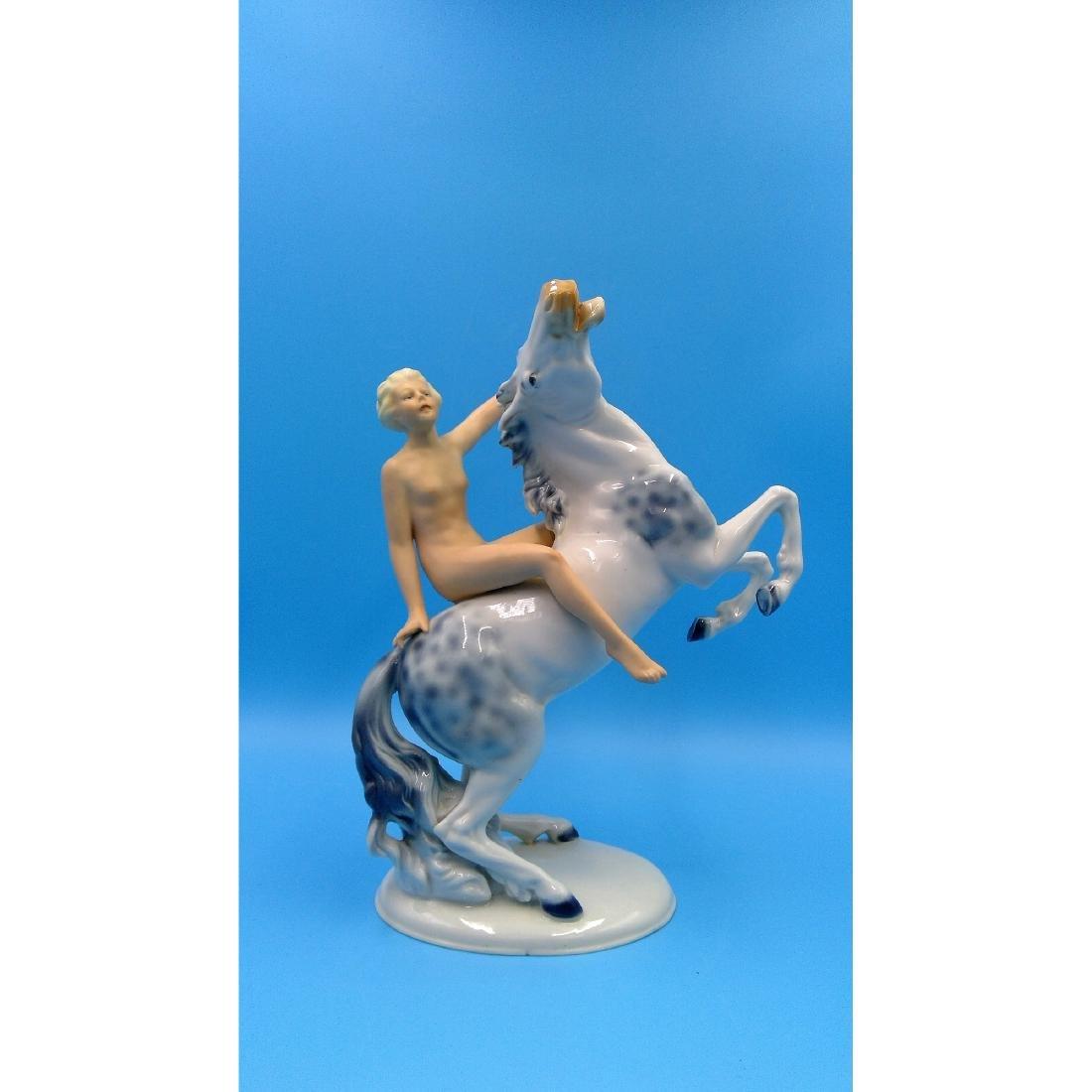 WALLENDORF GERMAN PORCELAIN NUDE ON HORSE FIGURE