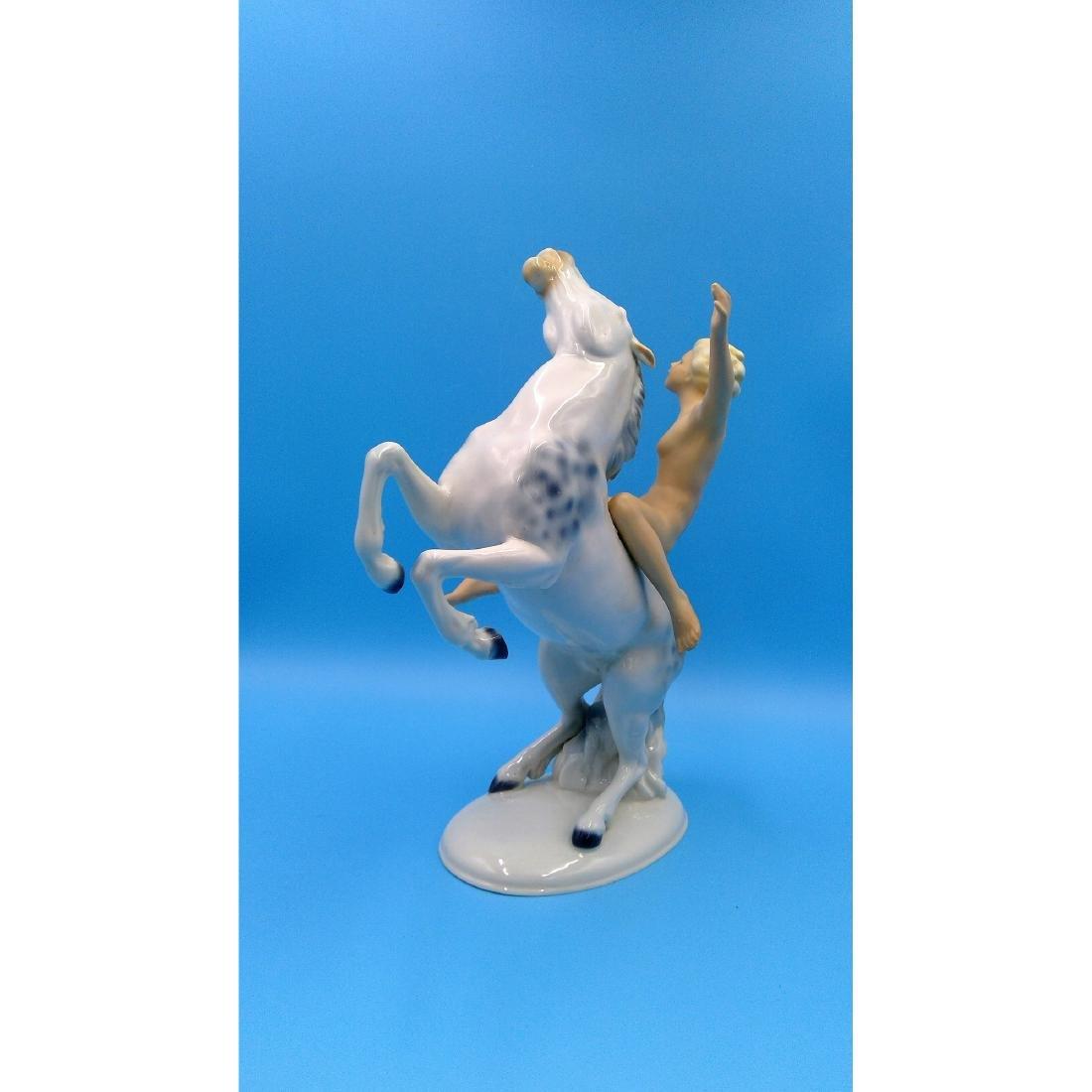 WALLENDORF GERMAN PORCELAIN NUDE ON HORSE FIGURE - 2
