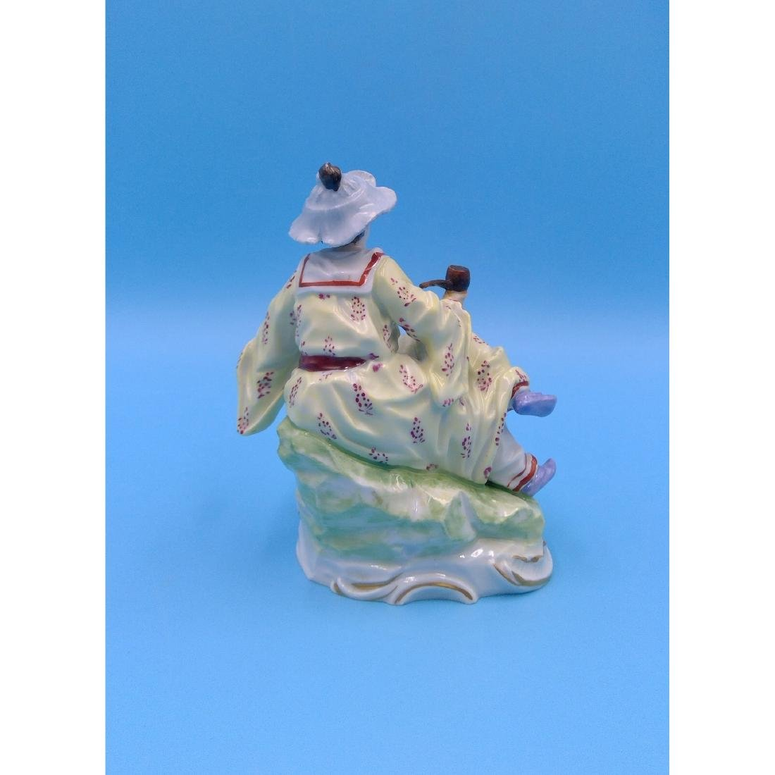 DRESDEN GERMAN PORCELAIN FIGURINE LADY W PIPE - 3