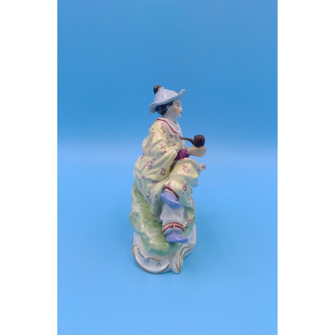 DRESDEN GERMAN PORCELAIN FIGURINE LADY W PIPE - 4