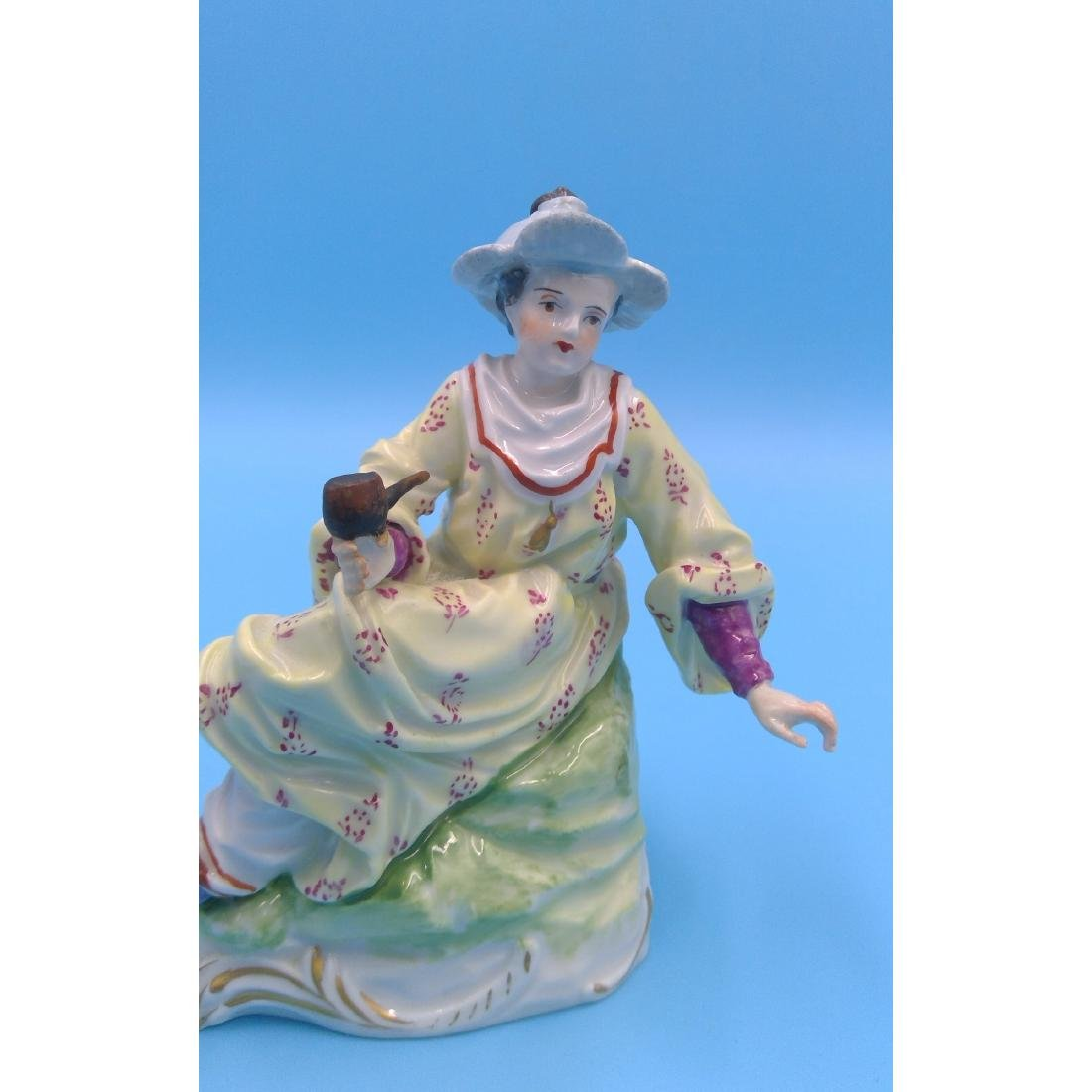 DRESDEN GERMAN PORCELAIN FIGURINE LADY W PIPE - 5