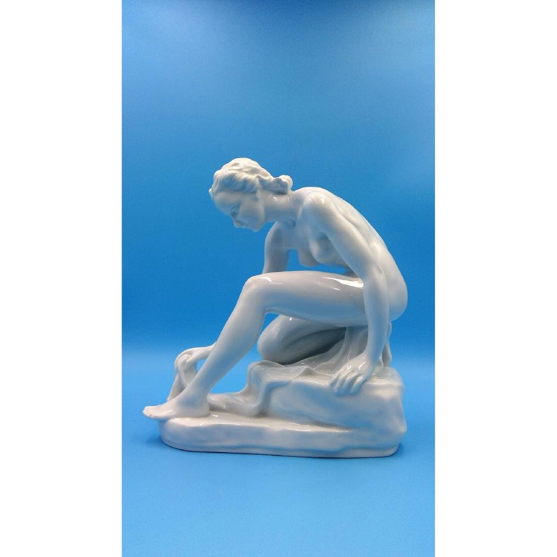 HEREND HUNGARIAN PORCELAIN FIGURINE NUDE BATHER