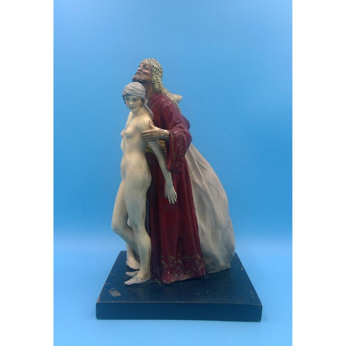 AFTER TANOUX CERMAIC SCULPTURE ARAB W NUDE MAIDS - 2