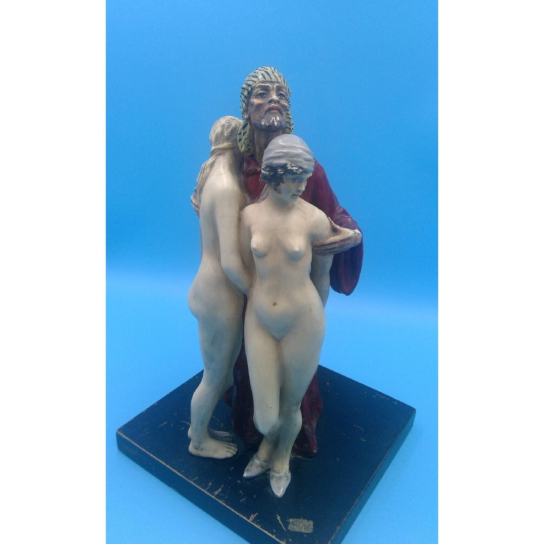 AFTER TANOUX CERMAIC SCULPTURE ARAB W NUDE MAIDS - 5