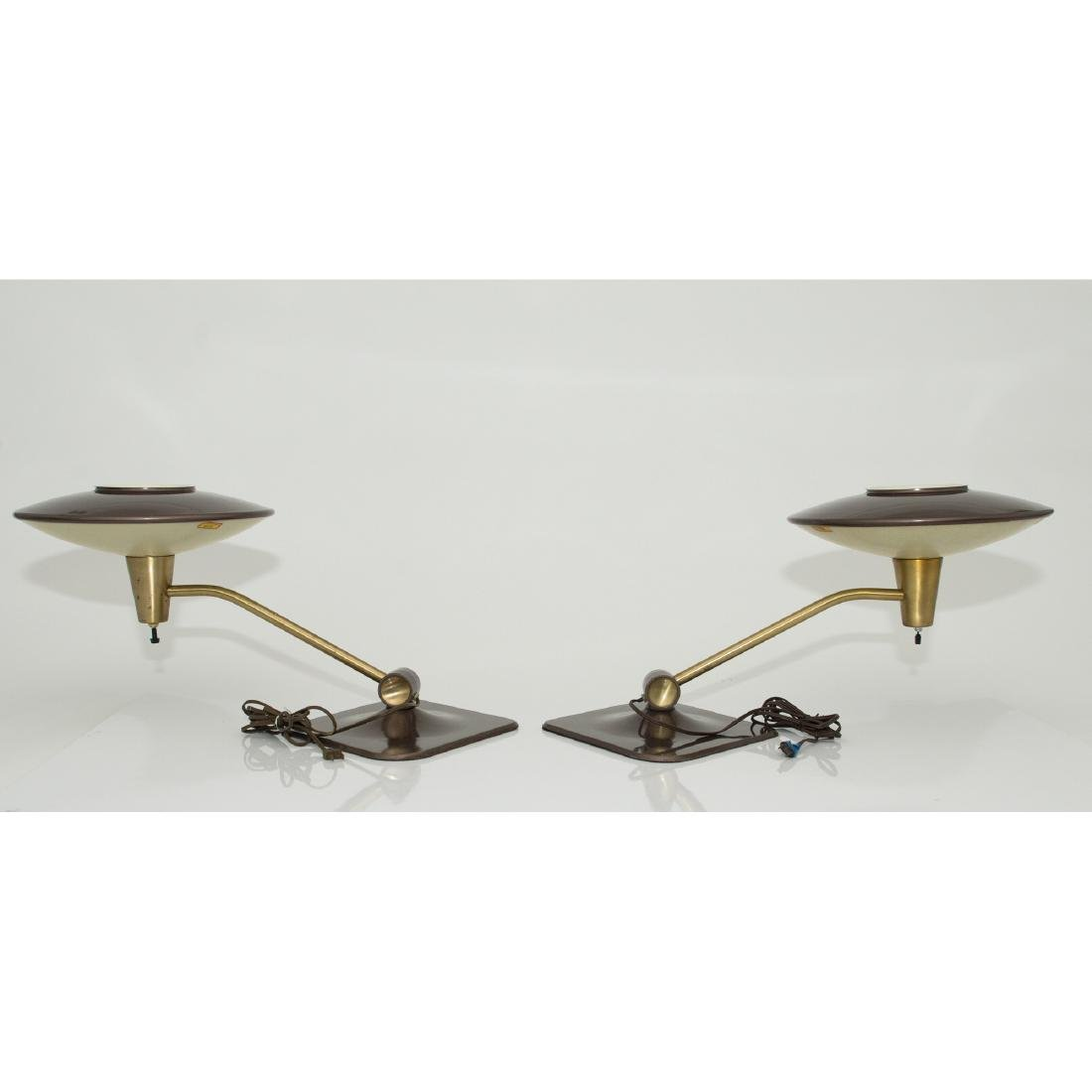 PAIR DAZOR MID-CENTURY MODERN FLYING SAUCER LAMPS