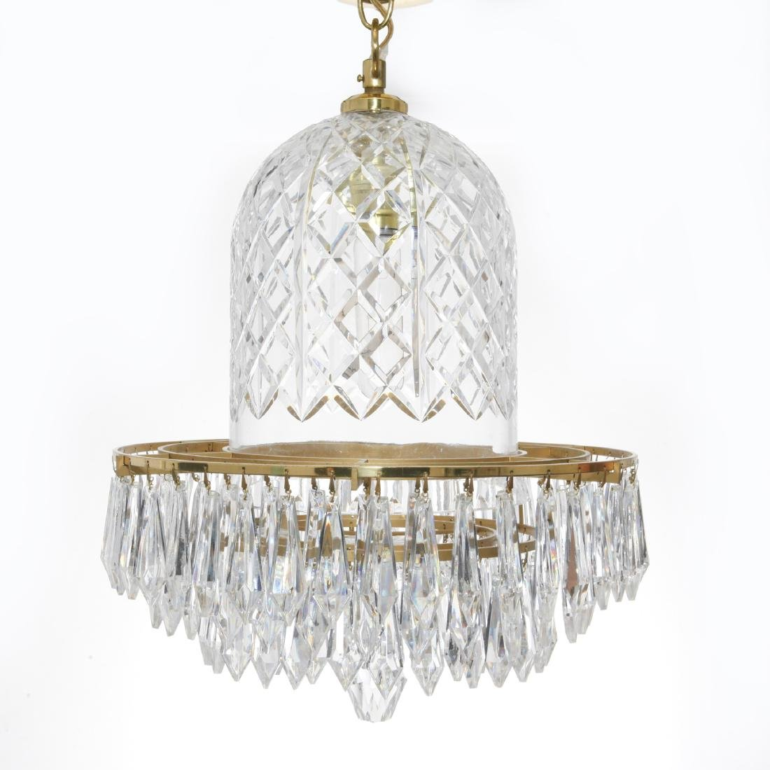 WATERFORD CRYSTAL AND BRASS BELL CHANDELIER