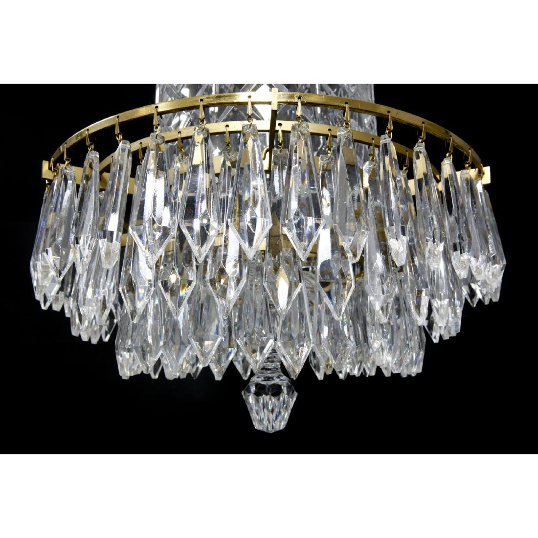 WATERFORD CRYSTAL AND BRASS BELL CHANDELIER - 2