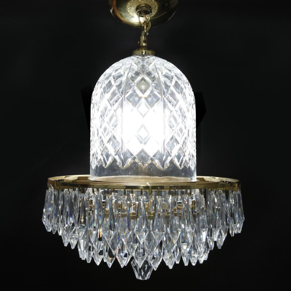 WATERFORD CRYSTAL AND BRASS BELL CHANDELIER - 3