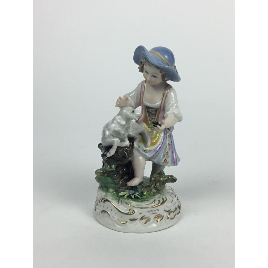 MEISSEN COUNTRY GIRL WITH SHEEP FIGURINE