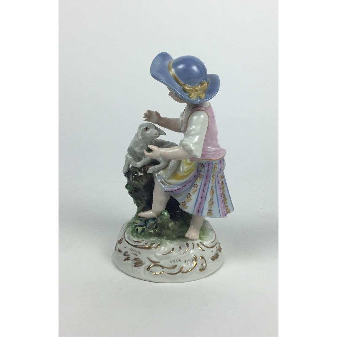MEISSEN COUNTRY GIRL WITH SHEEP FIGURINE - 2